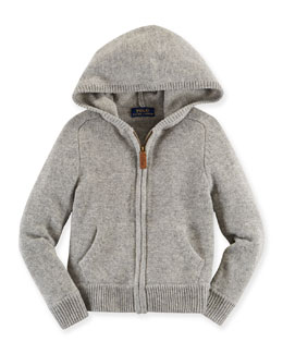 Cashmere Hooded Zip-Front Sweatshirt, Gray, Size 2T-7