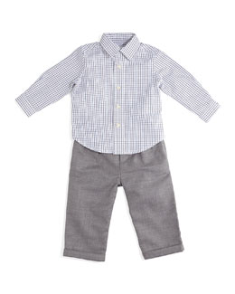 Poplin Tattersall Shirt & Wool Pants, White/Gray, Size 9-24 Months
