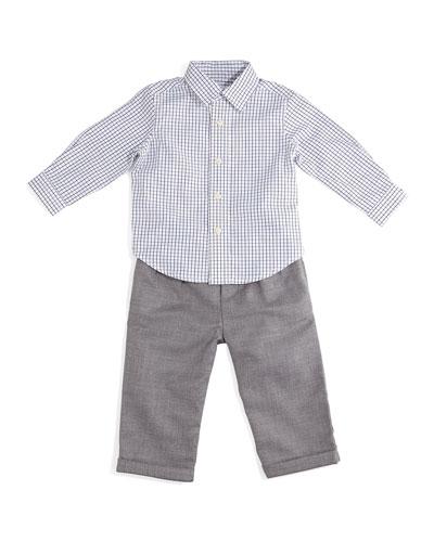 Poplin Tattersall Shirt & Wool Pants, White/Gray, Size 9-24 Months