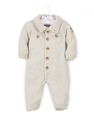 French-Ribbed Footed Cotton Coverall, Sandstone Heather, Size 3-9 Months