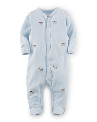 Schiffli-Embroidered Pima Footie Bodysuit, Blue, Size 3-9 Months