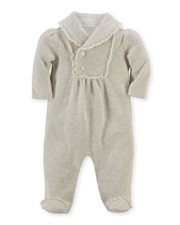 French-Ribbed Pima Footie Pajamas, Sandstone Heather, Size 3-9 Months