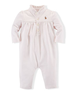Ruffle-Trim Pima Coverall, Pink, Size 3-12 Months