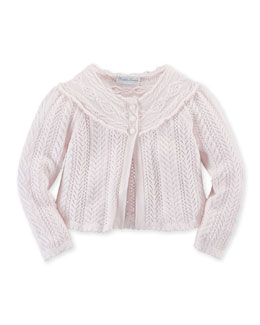Long-Sleeve Crochet Shrug, Pink, Size 3-24 Months