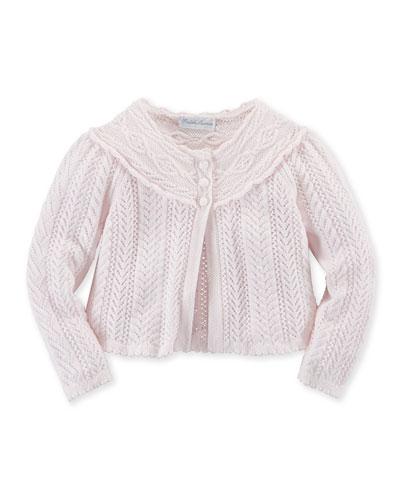 Long-Sleeve Crochet Shrug, Pink, Size 3-24 Months