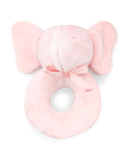 Plush Elephant Rattle, Pink