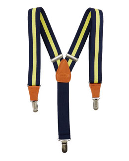 Boys' Striped Suspenders, Olive/Blue
