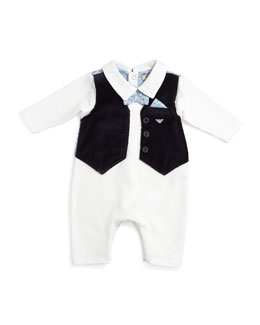 Illusion Coverall w/ Faux Vest, White, Size 6-12 Months