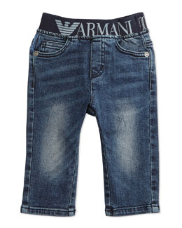 Stretch-Waist Faded Denim Jeans, Blue, Size 6-24 Months