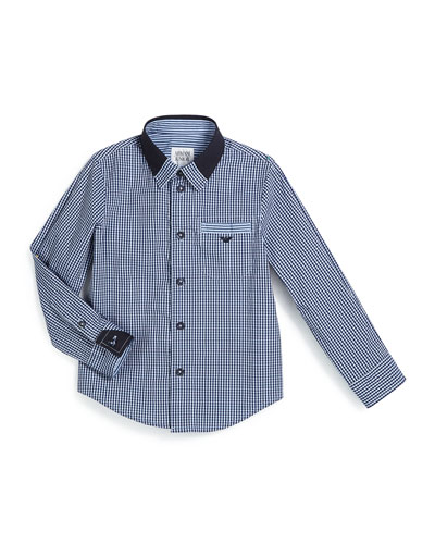 Gingham Poplin Shirt, Navy/White, Size 3-8