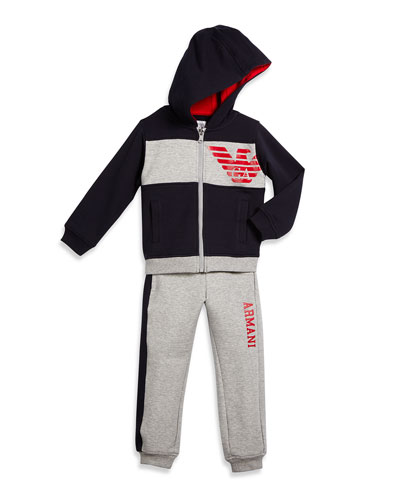 Hooded 2-Piece Track Suit, Red/Gray/Blue, Size 3-8