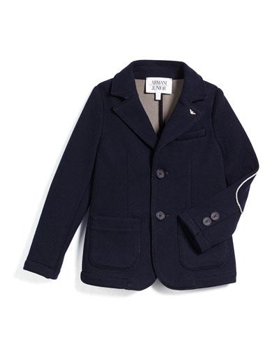 Contrast-Trim Knit Two-Button Blazer, Navy, Size 3-8