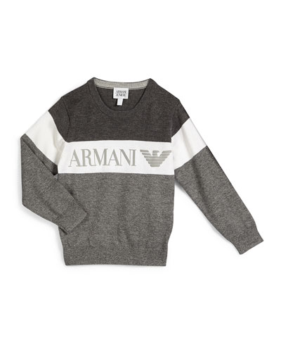 Long-Sleeve Colorblock Pullover Sweater, Gray, Size 4-8