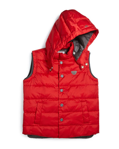 Hooded Puffer Vest, Dark Tomato, Size 10-14