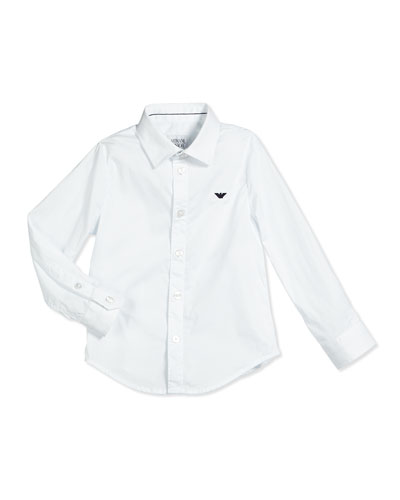 Basic Button-Front Poplin Shirt, White, Size 10-14