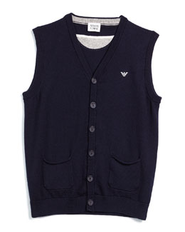V-Neck Button-Front Vest, Indigo, Size 10-14