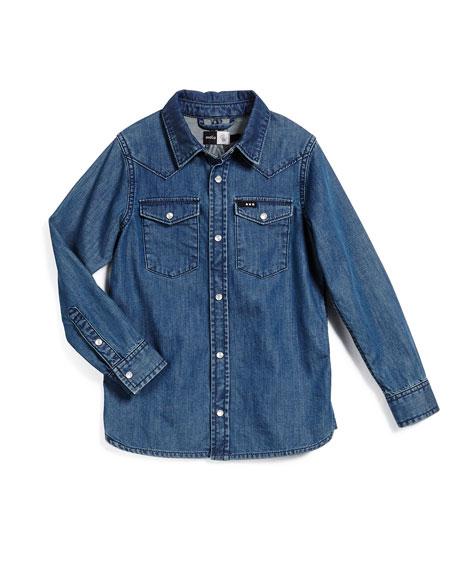 Riff Long-Sleeve Denim Shirt, Blue, Size 3-14