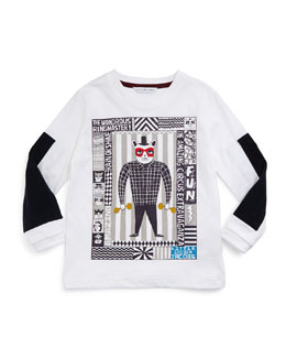 Long-Sleeve Circus Poster Jersey Tee, White, Size 4-12
