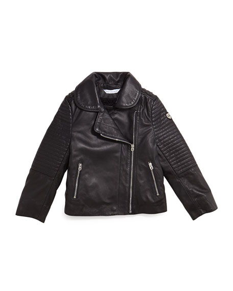 Leather Fleece-Lined Motorcycle Jacket, Black, Size 4-12