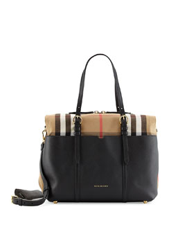 Mason Check-Trim Leather Tote Bag, Black