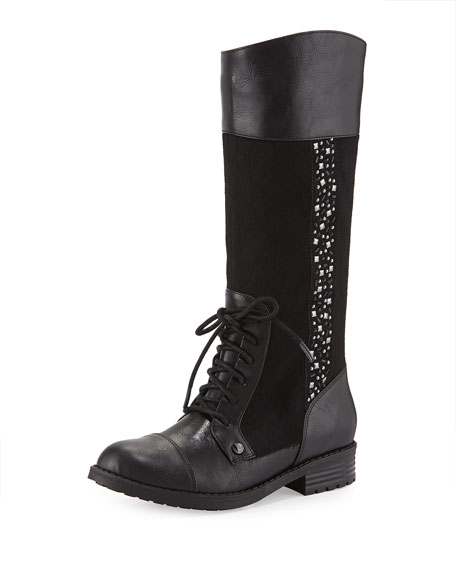 Faux-Leather Riding Boot, Black, Youth