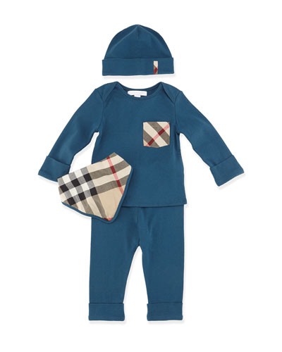 Olly 4-Piece Cotton Gift Set, Dark Mineral Blue, Size 3M-3Y