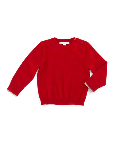 Gethin Cashmere Pullover Sweater, Military Red, Size 3M-3Y