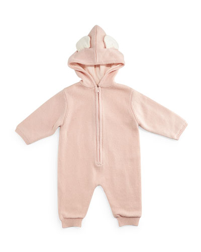 Bunny Hooded Wool-Blend Coverall, Rose, Size 6-18 Months