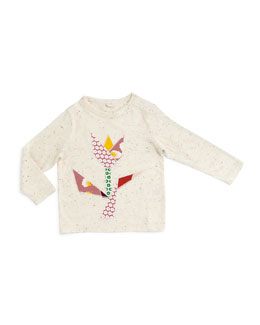 Georgie Long-Sleeve Tulip Top, Cream, Size 12-24 Months