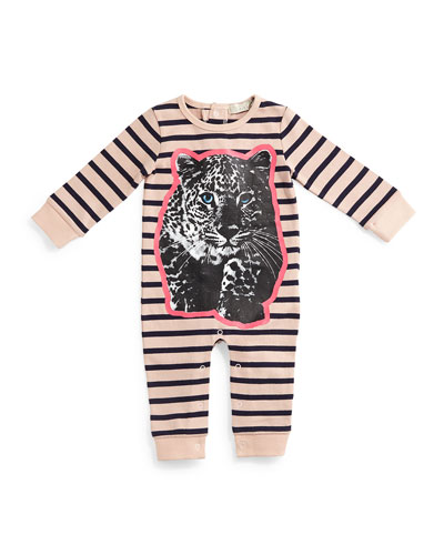 Dewberry Striped Leopard-Graphic Coverall, Pink/Navy, Size 6-24 Months