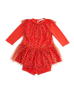 Mouse Tulle-Overlay Dress, Red, Size 6-24 Months