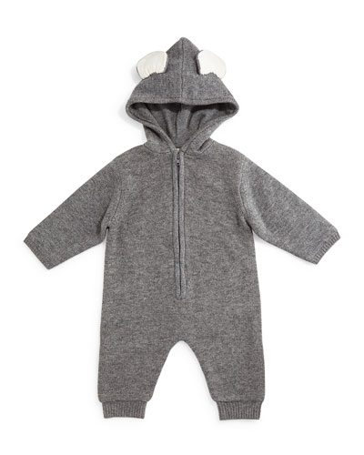 Bunny Hooded Wool-Blend Coverall, Pebble, Size 6-18 Months