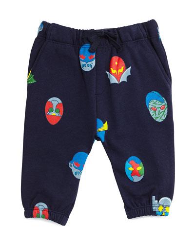 Loopie Fleece Superhero Sweatpants, Blue, Size 6-24 Months