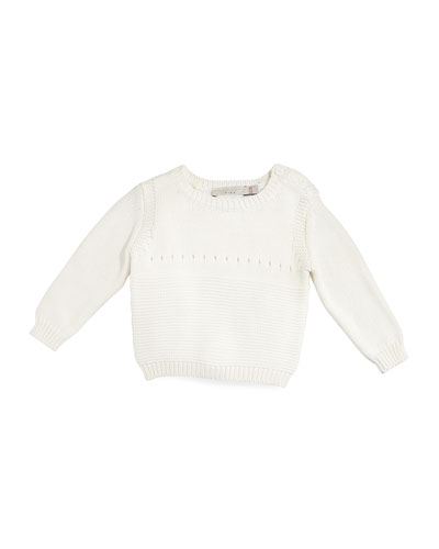 Thumper Bunny-Intarsia Pullover Sweater, Ivory, Size 6-12 Months
