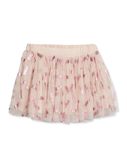 Honey Stripe-Print Tulle Skirt, Pink, Size 4Y-10Y