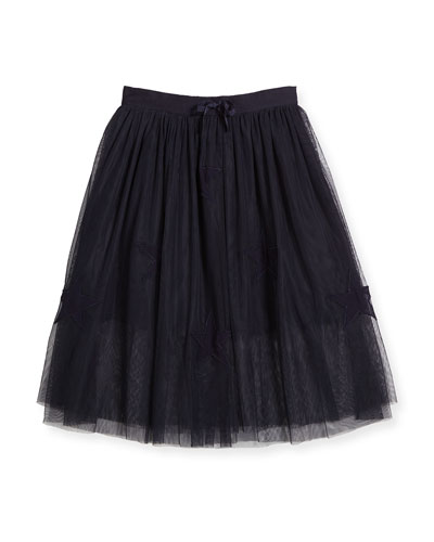 Amalie Tulle Midi Skirt, Midnight, Size 8Y-14Y