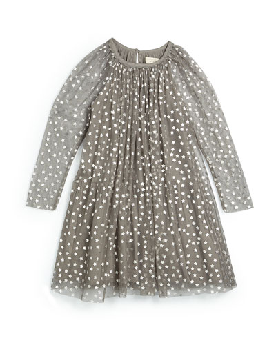 Tulle Star-Print Shift Dress, Gray, Size 4Y-10Y