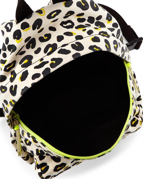 Splat Leopard-Print Backpack, Cream