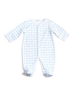 Motor Club Pima Footie Pajamas, White/Blue, Size Premie-9 Months