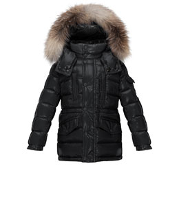 Hooded Fur-Trim Button-Front Puffer Coat, Black, Size 4-6