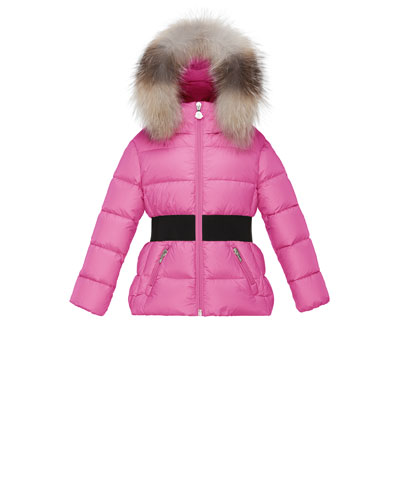 Aimee Hooded Fur-Trim Puffer Coat, Pink, Size 4-6