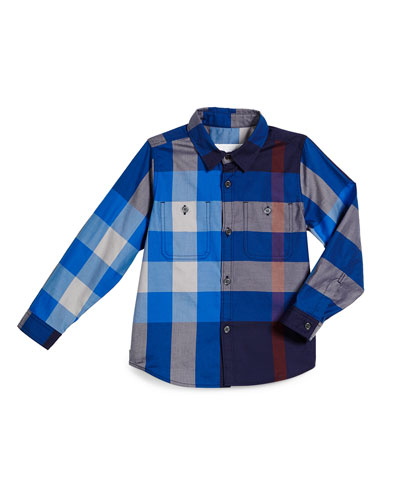 Mini Camber Check Shirt, Bright Navy, Size 4-14