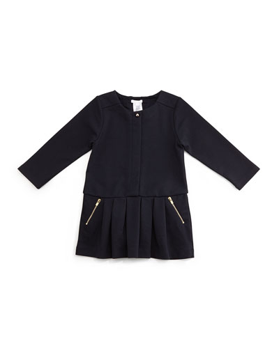 Long-Sleeve Pleated Ponte Dress, Blue Marine, Size 12M-3