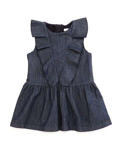 Sleeveless Ruffle-Trim Fit-and-Flare Chambray Dress, Blue, Size 12M-3