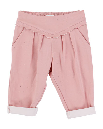 Pleated Polka-Dot Pants, Light Pink, Size 12M-3