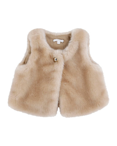 Faux-Fur Single-Button Vest, Carmel, Size 12M-3