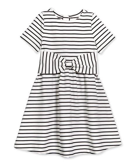 kammy striped stretch-sateen dress, black/white, size 7-14