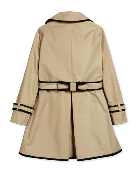 contrast-trim top liner trenchcoat, khaki, size s-xl