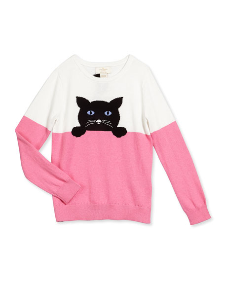 cat-intarsia colorblock sweater, cream/pink, size s-xl