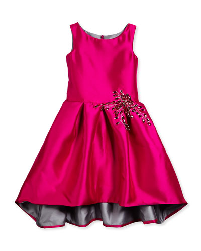 Taffeta High-Low Party Dress, Pink, Size 7-14